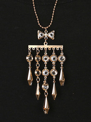 Long Mental Crystal Necklace