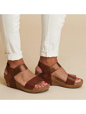 Plain  Mid Heeled  Peep Toe  Casual Date Wedge Sandals