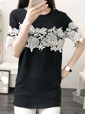 Round Neck Patchwork Lace Short Sleeve T-Shirts