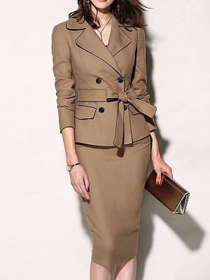 Fold-Over Collar Plain Bodycon Dress, 5177858