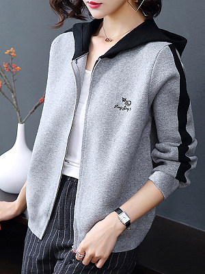 Hat Collar Patchwork Casual Color Block Long Sleeve Knit Cardigan, 9682153