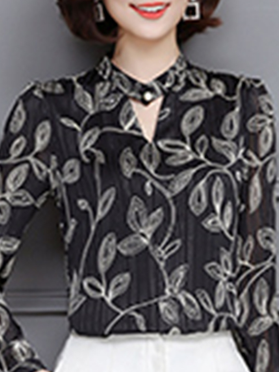 V Neck  Beading  Abstract Print Blouses