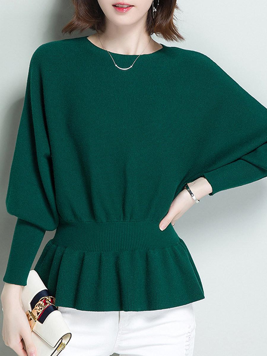 BerryLook Round  Neck  Patchwork  Elegant  Plain  Batwing Sleeve  Long Sleeve  Knit Pullover