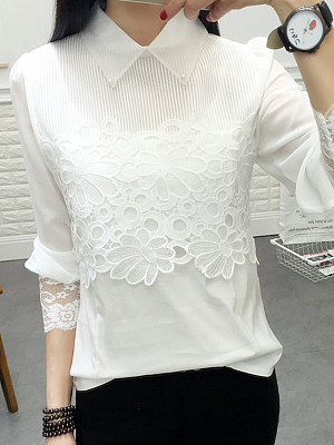 Turn Down Collar Patchwork Lace Blouses, 6249390