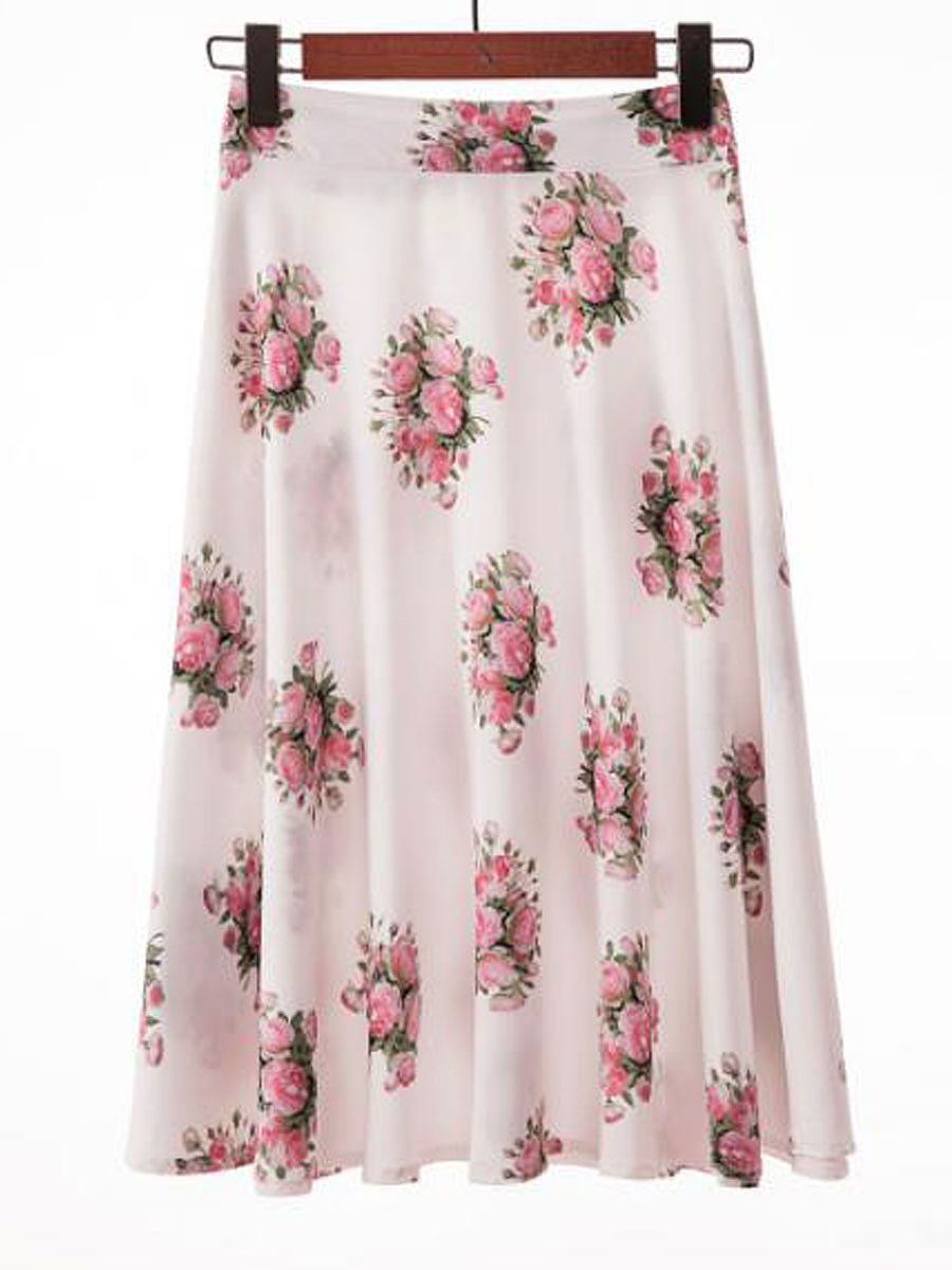 Korean Style Lightweight  Printed  Pleated Knee-Length Skirts For Women