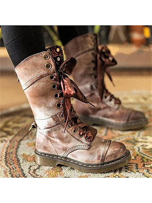 Plain  Flat  Round Toe  Casual Outdoor  Mid Calf Flat Boots