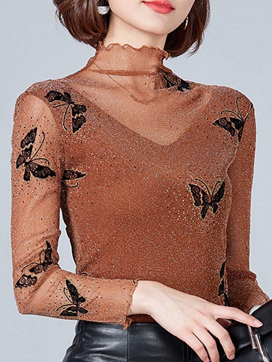 Cowl Neck  Animal Prints Long Sleeve T-Shirts