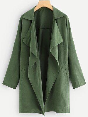 Asymmetric Neck Plain Trench Coat