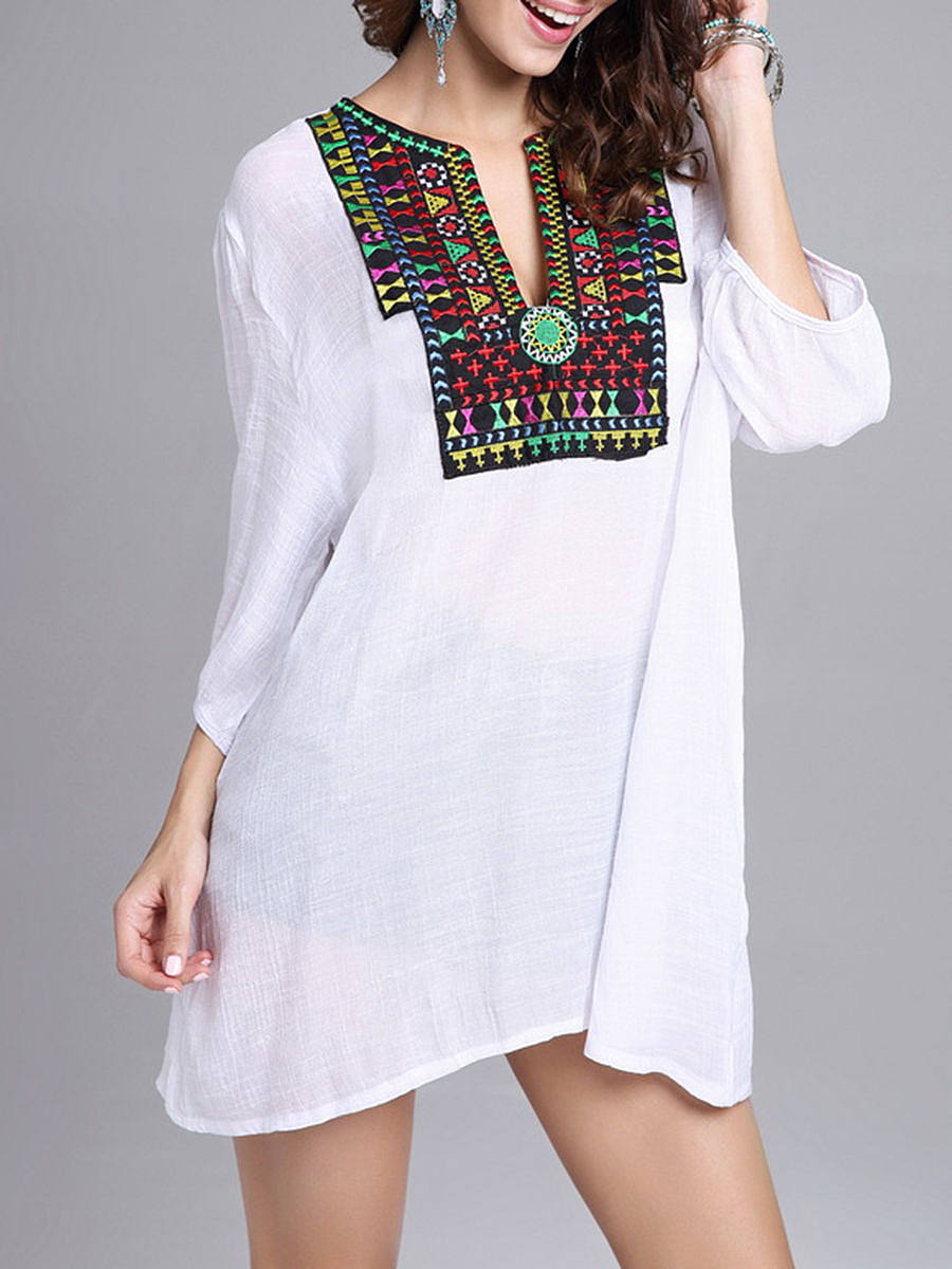 Oversized Split Neck Embroidery Blouse