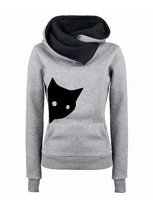 Casual Cat Print Pocket Hooded Stitching Long-Sleeved Fleece Sweatshirt, 8419672