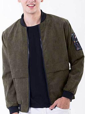 Band Collar Pocket Letters Men Bomber Jacket
