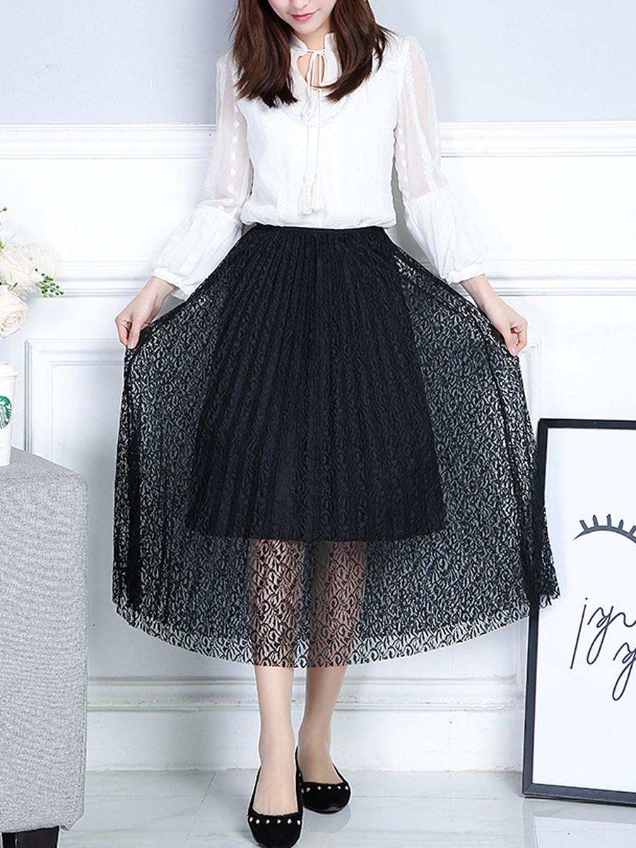 Elastic Waist  Hollow Out  Pleated Midi Skirt