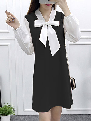 Tie Collar Color Block Shift Dress