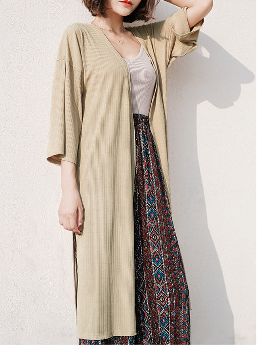 Slit  Plain  Long Sleeve Cardigans