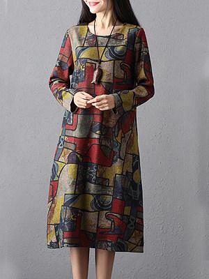 Купить Round Neck Print Shift Dress
