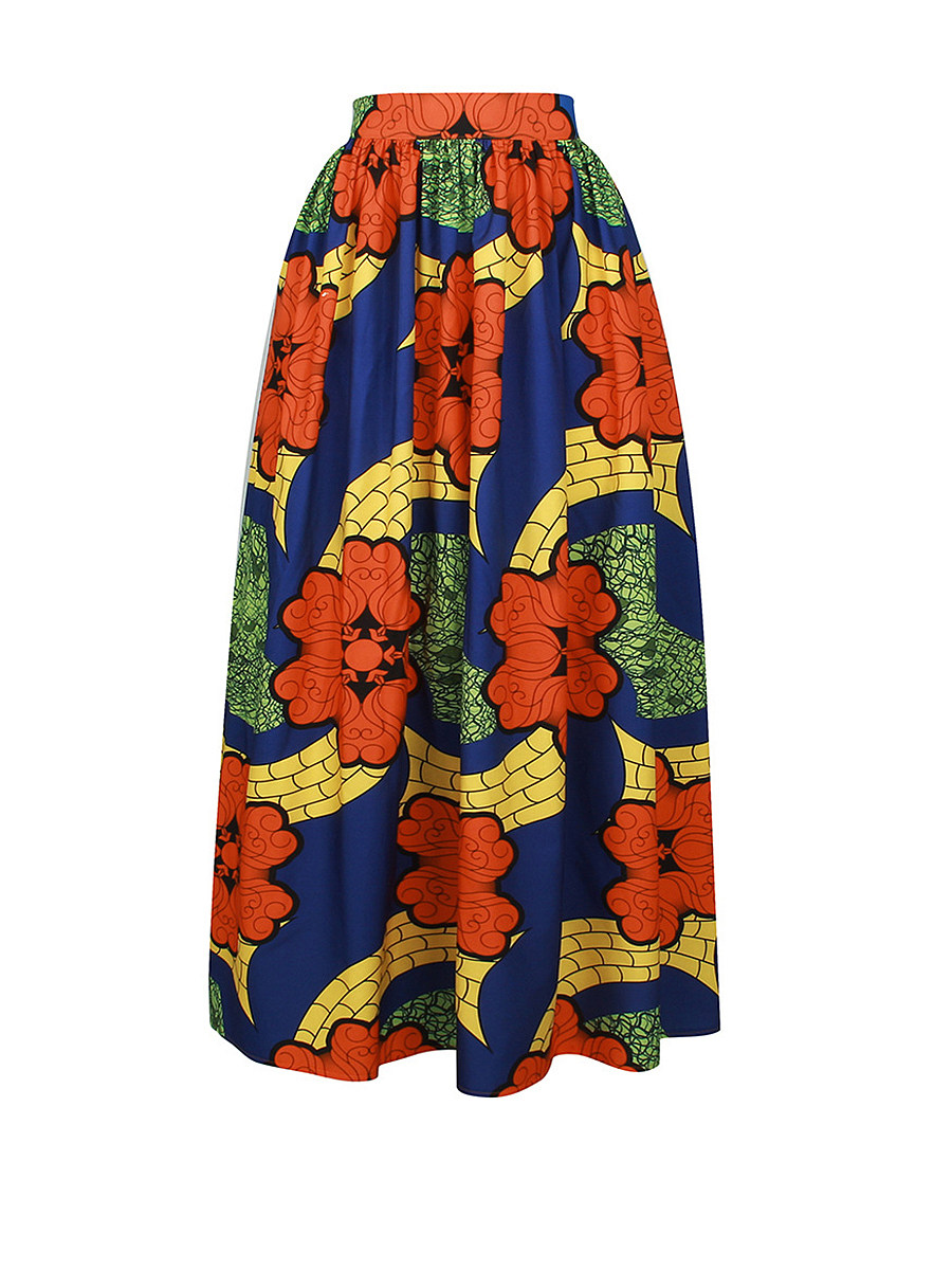 Elastic Waist  Printed  Pleated Maxi Skirts