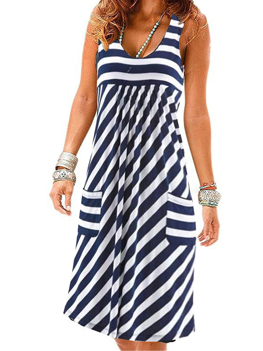 BerryLook Round Neck  Striped Shift Dress