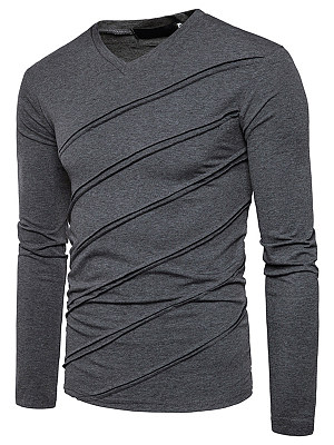 V-Neck Plain Striped Men T-Shirt
