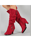 Plain Chunky High Heeled Velvet Point Toe Outdoor Knee High High Heels Boots - $34.95