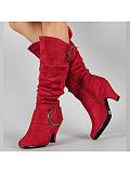 Image of Plain Chunky High Heeled Velvet Point Toe Outdoor Knee High High Heels Boots