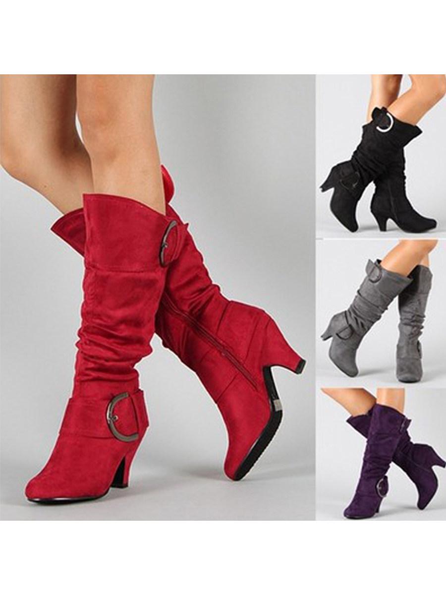 BerryLook Plain  Chunky  High Heeled  Velvet  Point Toe  Outdoor  Knee High High Heels Boots