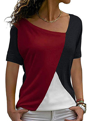 Asymmetric Neck Patchwork Color Block Short Sleeve T-Shirts, 8413683