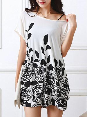 Printed Round Neck Mini Shift Dress