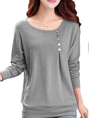 Autumn Spring Polyester Women Round Neck Decorative Button Plain Long Sleeve T-Shirts