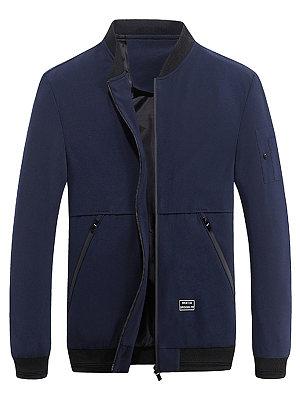 Band Collar Zips Pocket Plain Men Coat