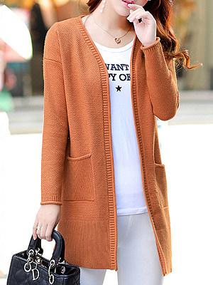 Medium Elegant Plain Long Sleeve Knit Cardigan, 9321718