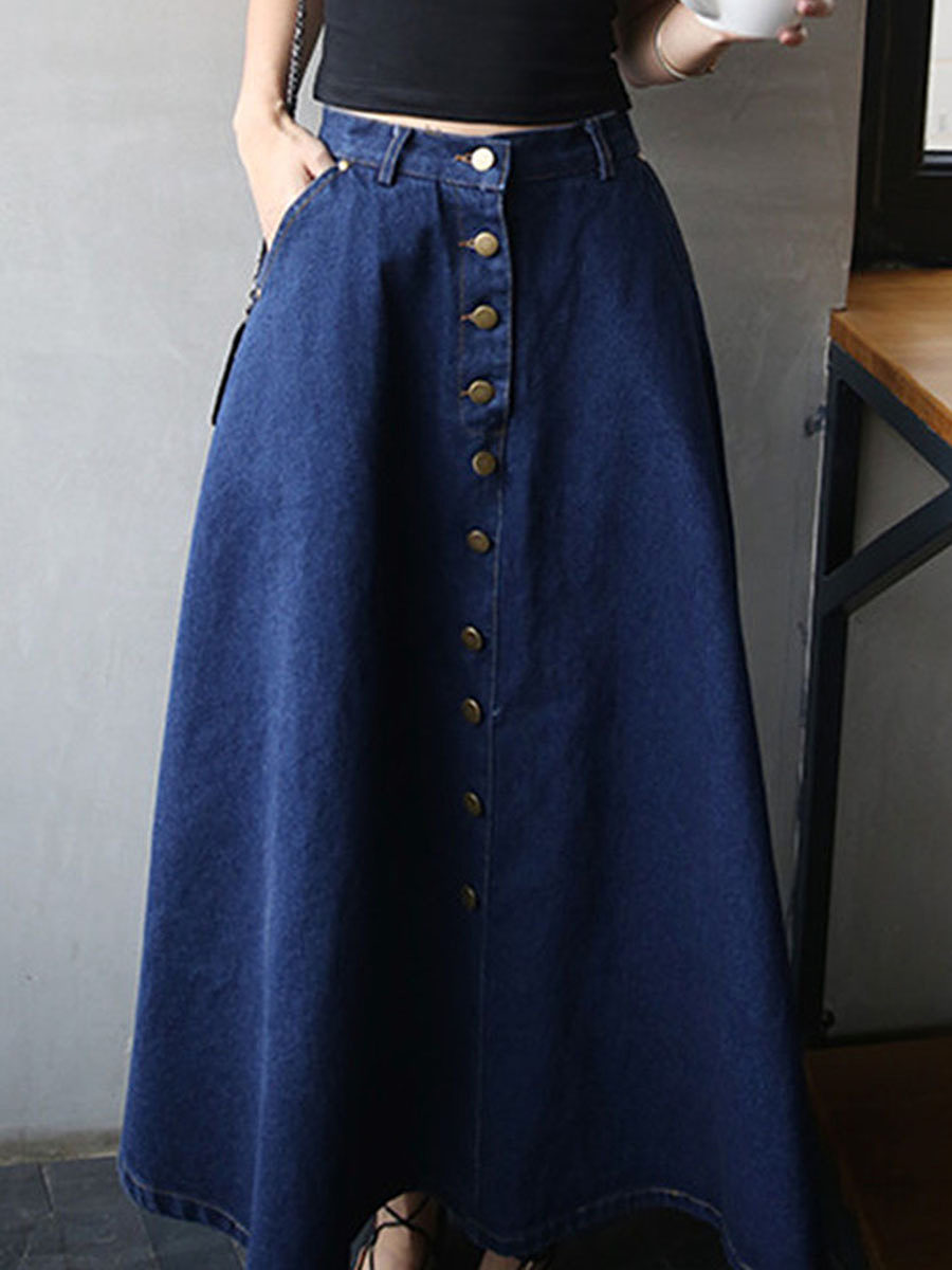 Classical Decorative Button  Plain  Flared Maxi Skirt