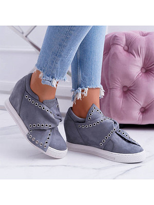 Plain Round Toe Casual Date Travel Sneakers, 7512635