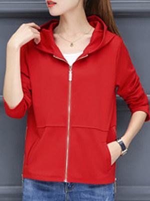 Hooded Zips Plain Long Sleeve Jackets фото