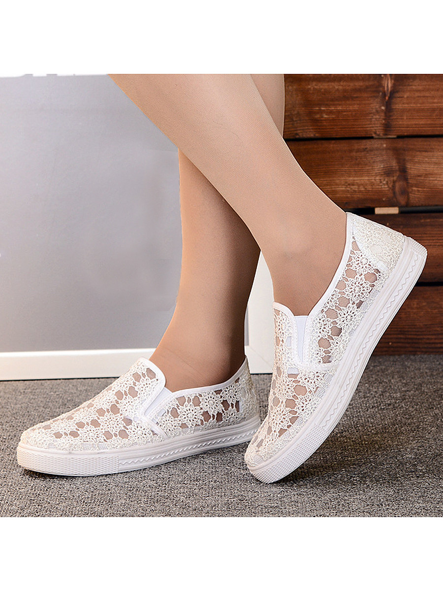 BerryLook Lace  Flat  Lace  Round Toe  Casual Sneakers