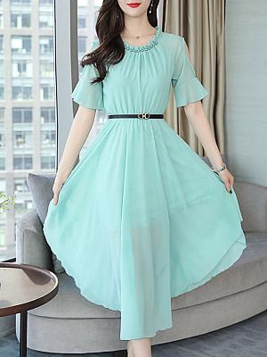 Round Neck Asymmetric Hem Beading Plain Bell Sleeve Maxi Dress, 7119965