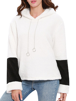 Hooded Drawstring Decorative Hardware Color Block Long Sleeve Hoodies, 6029275