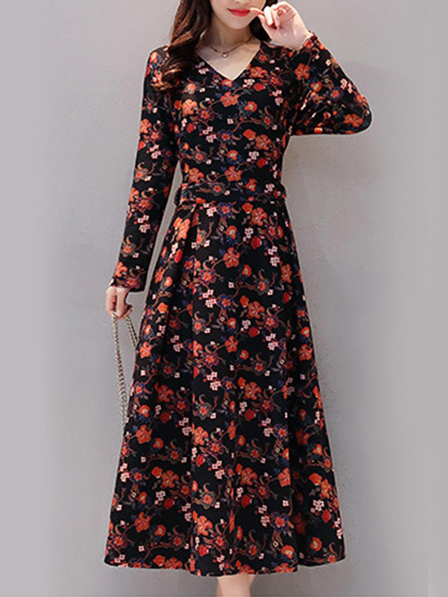 V-Neck Floral Date Empire Line Maxi Dress