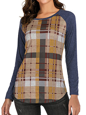 Round Neck Patchwork Casual Plaid Long Sleeve T-Shirt, 8372646