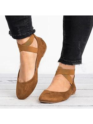 Plain Flat Velvet Ankle Strap Round Toe Basic Date Comfort Flats