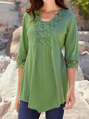 Round Neck Asymmetric Hem Decorative Lace Patchwork Plain Short Sleeve T-Shirts