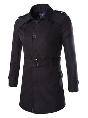 Lapel Solid Single Breasted Belt Men Trench Coat