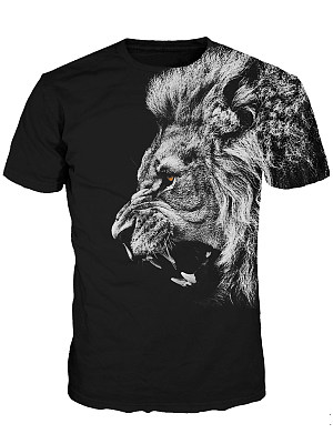 Crew Neck 3D Lion Printed Men T-Shirt