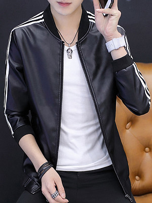 Band Collar Striped PU Leather Men Jacket