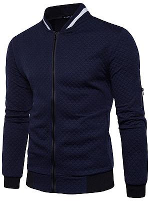 Band Collar  Pocket Embossed Men Jacket