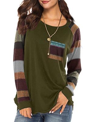 Round Neck  Patch Pocket  Stripes Long Sleeve T-Shirts
