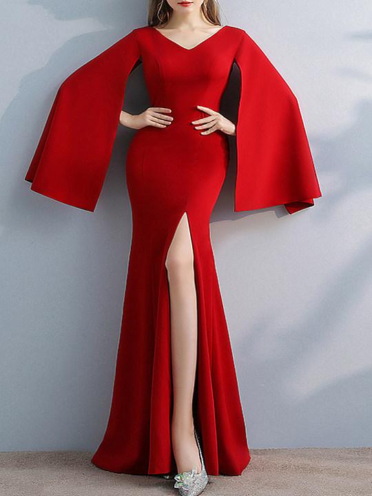 V-Neck Plain Polyester Evening Dresses