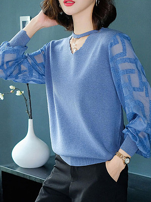 Round Neck Patchwork Elegant Long Sleeve Knit Pullover, 8443293
