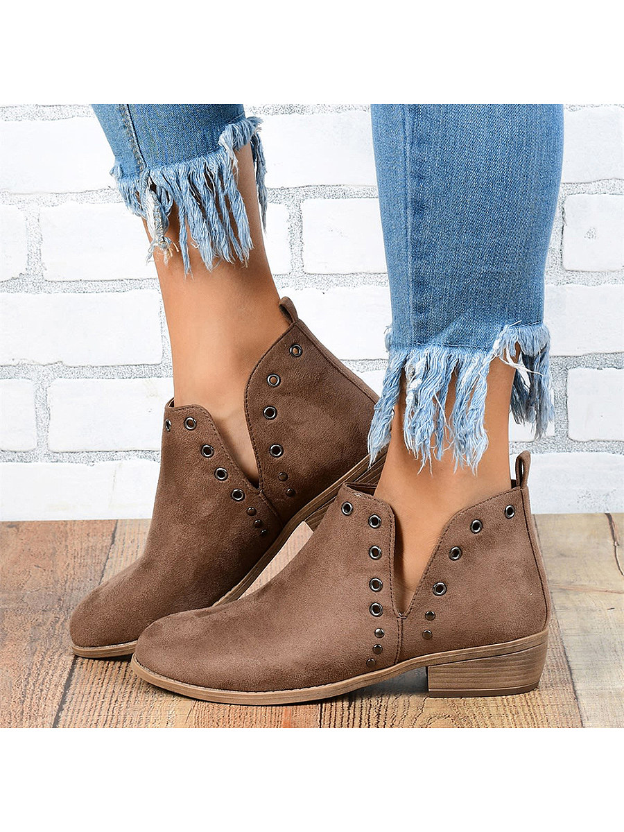 BerryLook Plain Flat Velvet Round Toe Outdoor Ankle Boots