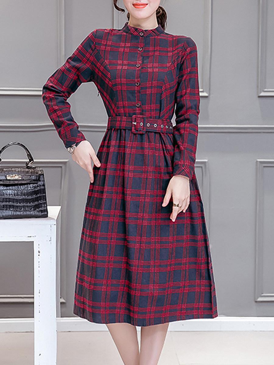 Round Neck Single Breasted Checkered Skater Dress