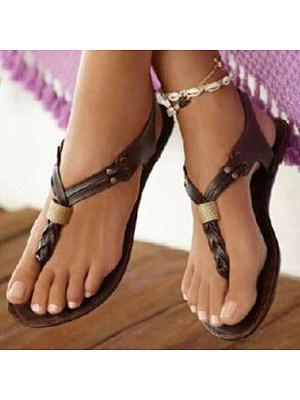 SOCOFY Plain  Flat  T Strap  Peep Toe  Casual Outdoor Gladiator Sandals